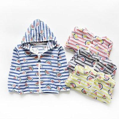 夏天兒童必備 沁涼西瓜條紋連帽防曬外套...