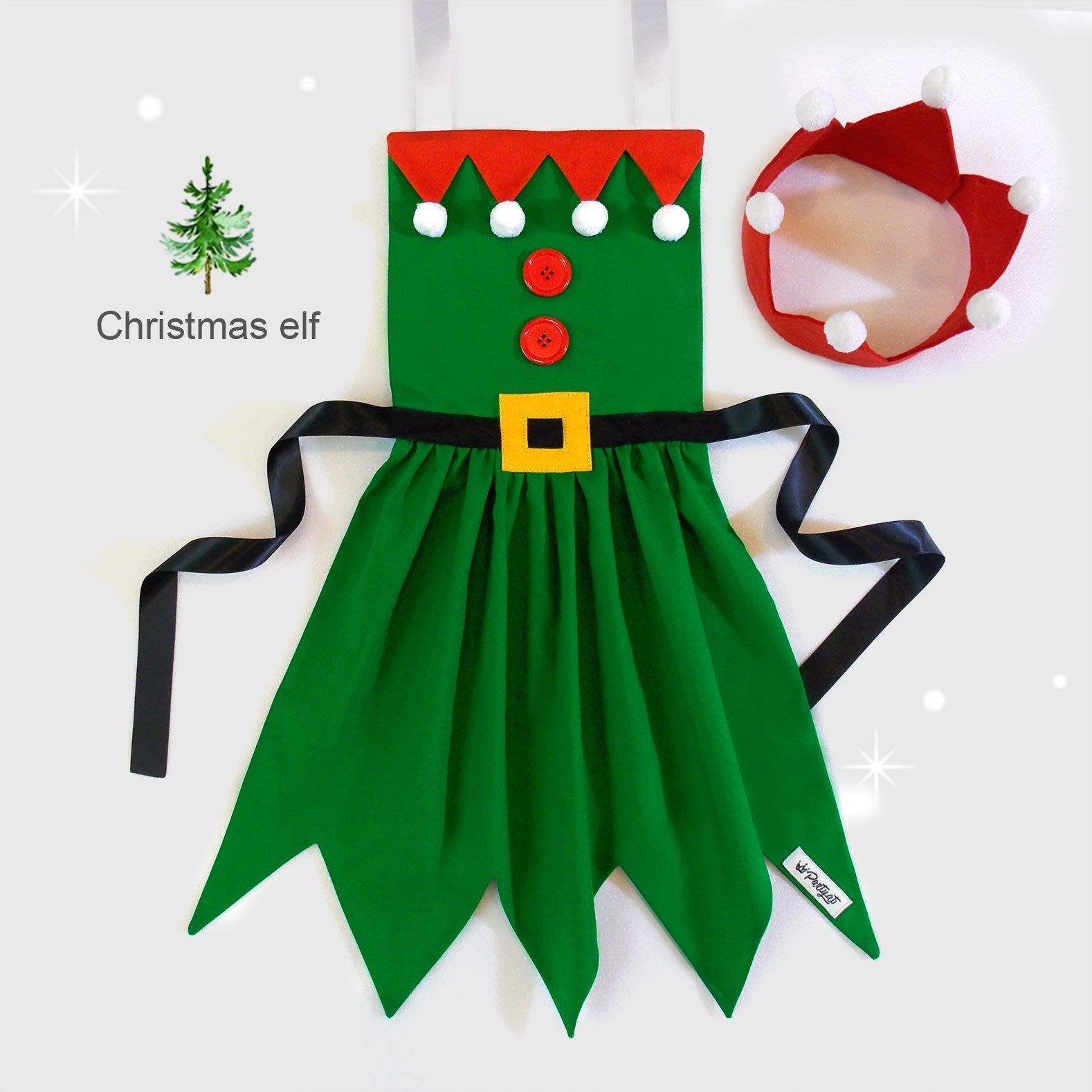 **party.at** 聖誕精靈 (女孩款) 兒童圍裙 2-8Y 聖誕節服裝 迪士尼 聖誕樹 聖誕老人 薑餅人 雪寶