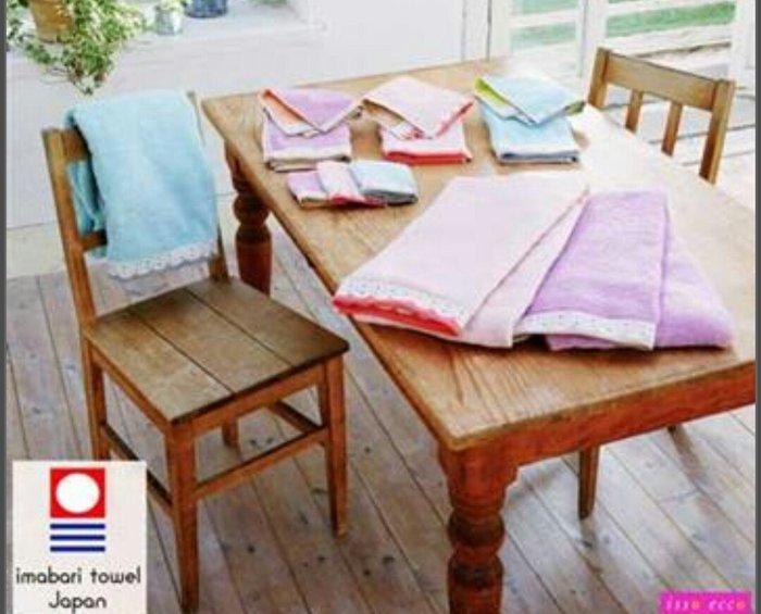 天使熊雜貨小舖~日本ISSO ECCO今治(imabari towel)~無撚雙面色波點花邊浴巾 70×140 全新現貨