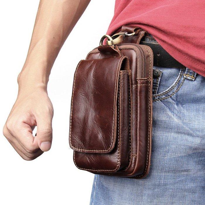 男士真皮包手機袋休閒戶外迷你相機腰包