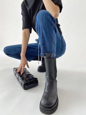 Liner 正韓女裝意大利G系列 腔調小眾設計~重工高腰抽繩拼縫燈籠牛仔褲2021春