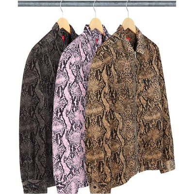 【紐約范特西】預購 SUPREME FW20 Snakeskin Corduroy Zip Up Shirt