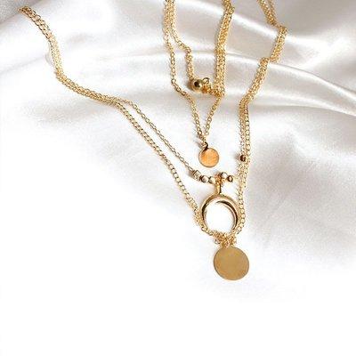 Women Layered Necklace Gold Beaded Horn Choker Chain Pendant