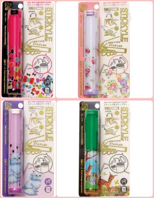 Ariels Wish日本Sun Star隨身攜帶式收納筆型超輕量兼收納玫瑰花園小鹿斑蝴蝶結波斯貓咪比釘書機-四款絕版品