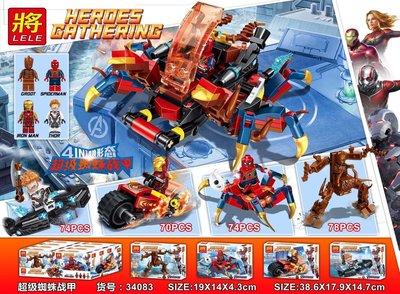 高積木 將牌34083 鋼鐵機車 鋼鐵蜘蛛人 格魯特樹人機甲 雷神索爾 復仇者聯盟 超級英雄 非樂高LEGO