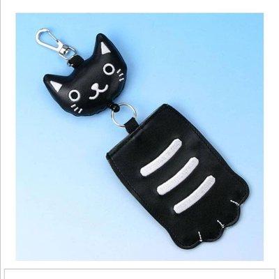 萌貓小店 日本直送-黑貓圖案伸縮拉繩咭套猫の手パスケース 黒