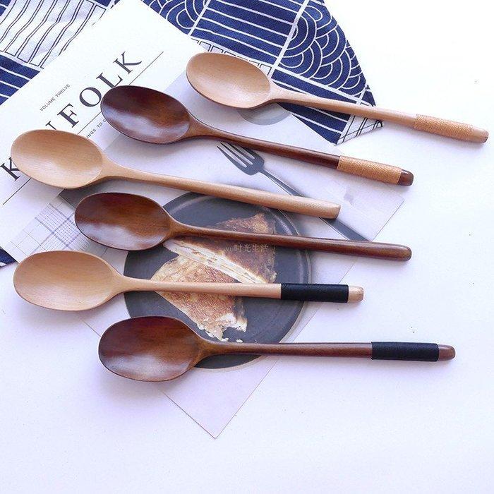 [夏不為利]網紅同款大勺子木勺子長柄 韓式 日式 吃飯用家用吃飯湯匙木質勺【格調】