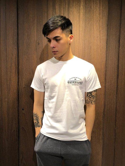 美國百分百【全新真品】 Quiksilver 閃銀 T恤 T-shirt 短袖 衝浪 潮流 logo 白色 AN70