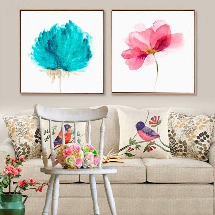 ART。DECO  北歐水彩花卉裝飾畫客廳沙發背景牆壁掛畫小清新餐廳裝飾畫民宿房間裝飾畫公司辦公室實品屋裝飾畫(18款可