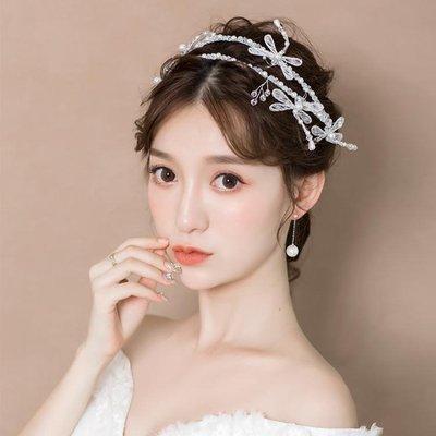 婚紗名店指定款新娘造型頭飾韓式甜美髮箍蜻蜓水鉆公主配飾婚紗禮服結婚盤髮飾品