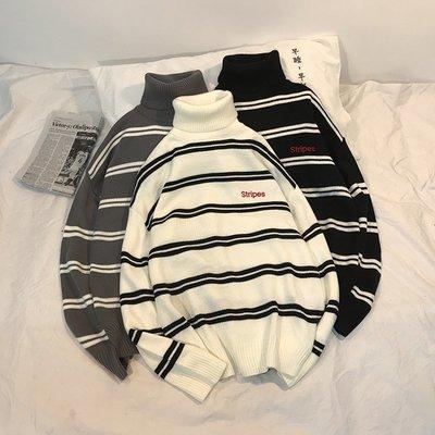 帽T 連帽T恤 長袖 套頭 寬鬆港風CHIC韓版男女情侶款BF寬松超高領內搭打底復古條紋毛衣針織衫