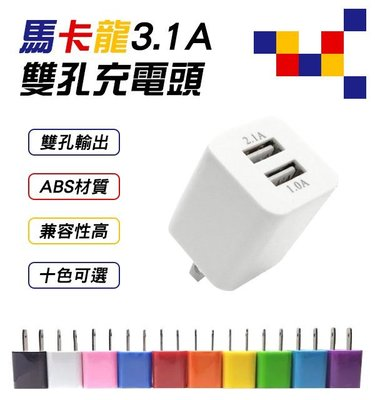 【coni mall】馬卡龍3.1A快充頭 現貨 當天出貨 手機充電 雙孔充電頭 USB充頭 豆腐頭 iPhone