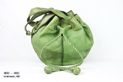 【古物箱】美國 FOSSIL 真皮 牛皮 點點 手提包 水桶包  果綠 (古董 骨董 二手 古著 老件 vintage)