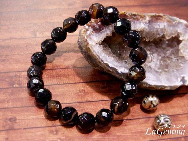 【寶峻水晶】黑瑪瑙切角手珠/圓珠SPS-408,佛教七寶石之一,避邪檔煞~最強護身符