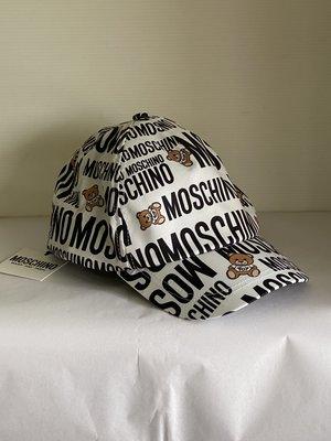 全新 Moschino Kid-Teen White & Black Cotton Logo Cap 現貨