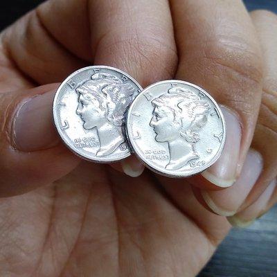 銀革手作 925 純銀 訂造 10美分 硬幣 自由女神  袖口鈕