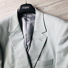 歐碼50【GIEVES & HAWKES】 淺色羊毛+純絲單排扣半內裡西裝外套