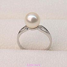 Little-luck~正圓 強光白色天然淡水珍珠戒指 女款s925純銀正品 活口可調節