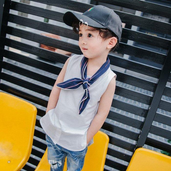 童裝  兒童 背心2018夏裝新款無袖襯衫中小童男孩打底衫 男童 汗衫薄款