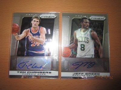 網拍讀賣~13/14~Tom Chambers/ Jeff Green~PRIZM簽名卡~貼紙簽~共2張~800元~