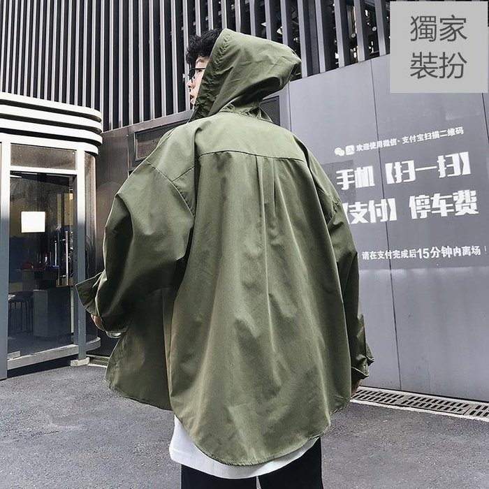 薄開衫 長袖 襯衫 秋季新款 潮男網紅襯衫長袖很仙的襯衣設計感ins百搭寬松上衣洋氣防曬外套