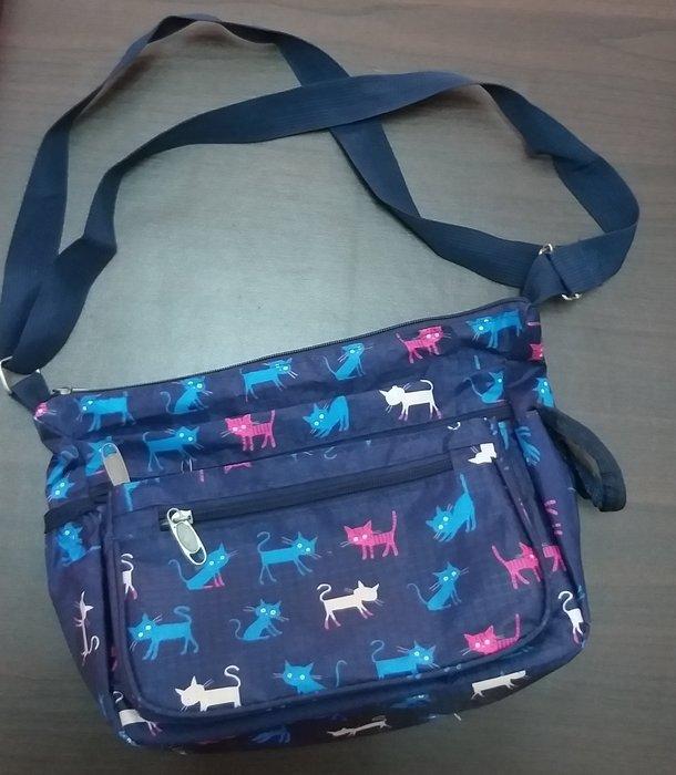 喜歡貓咪人有福了,質感藍貓咪喵星人尼龍側背包,多袋口