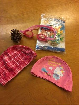 Hello Kitty 泳帽蛙鏡+泳圈 四樣$199 運60 全新Sanrio泳帽 全新熱帶魚游泳圈 送二手蛙鏡
