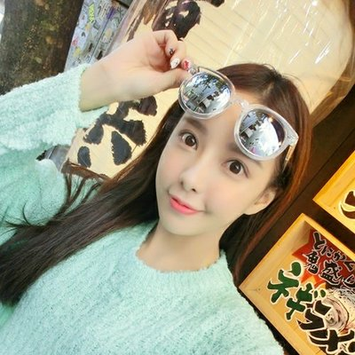 韓版潮鏡面反光墨鏡透明框箭頭太陽眼鏡太陽鏡遮陽鏡沙灘鏡