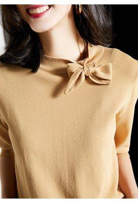 YOHO 針織衫 (SDP0426-2) 實拍優雅知性美浪漫兔耳朵系帶冰絲針織衫 短袖上衣 百搭單品