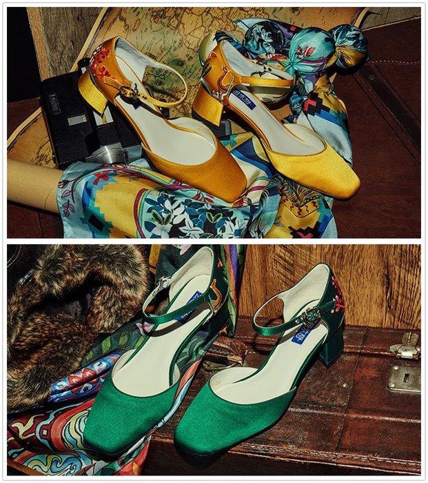【鳳眼夫人】獨立設計品牌訂製款 2色 縛蘅 真絲手工刺繡真皮一字扣環方頭粗跟瑪莉珍鞋 淺口跟鞋復古party典雅氣質時尚