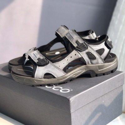 ECCO 日常休閒透氣男涼鞋 緩震舒適魔術貼平底鞋 越野069564 灰色 39-44碼