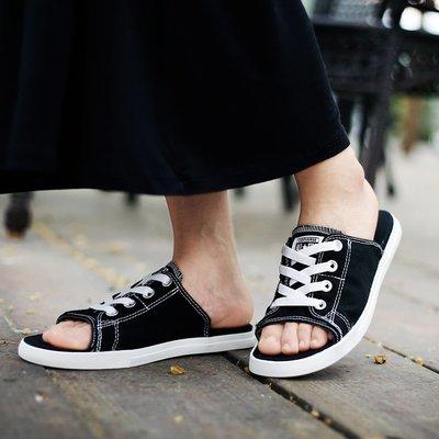D-BOX  CONVERSE All Star Cutaway EVO 經典 休閒 黑白 拖鞋 帆布鞋