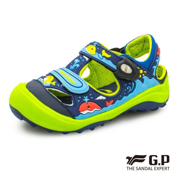 森林寶貝屋~超取免運~GP~阿亮代言~新款~鯨魚兒童護趾鞋~包頭涼鞋~小童鞋~磁扣設計~GP涼鞋~G9219B-26