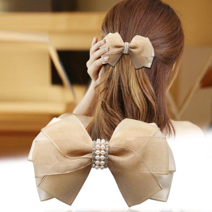 頭飾品日正韓蝴蝶結布藝髮飾髮夾彈簧夾髮卡頂夾女A0220