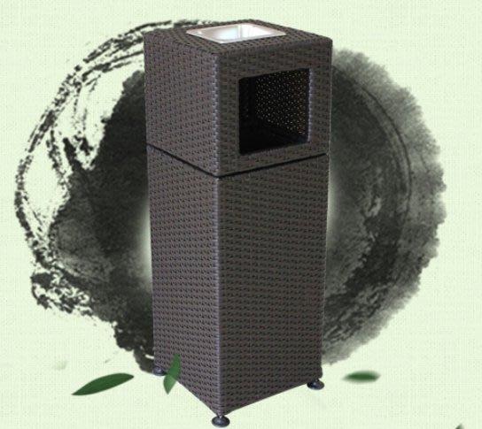 《宇煌》仿籐編織室外大號小區景區環衛酒店大堂帶煙灰缸戶外垃圾桶果皮箱