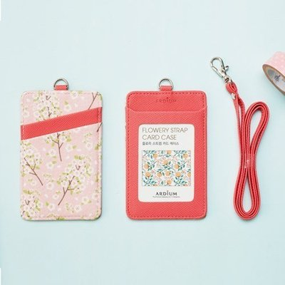 ♀高麗妹♀韓國 ARDIUM STRAP CARD CASE 盛夏櫻花 悠遊卡/證件萬用卡夾附頸繩(預購)
