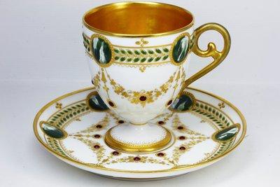 法國古董瓷器 C. A. France Depose 鑲嵌珠寶裝飾 杯碟