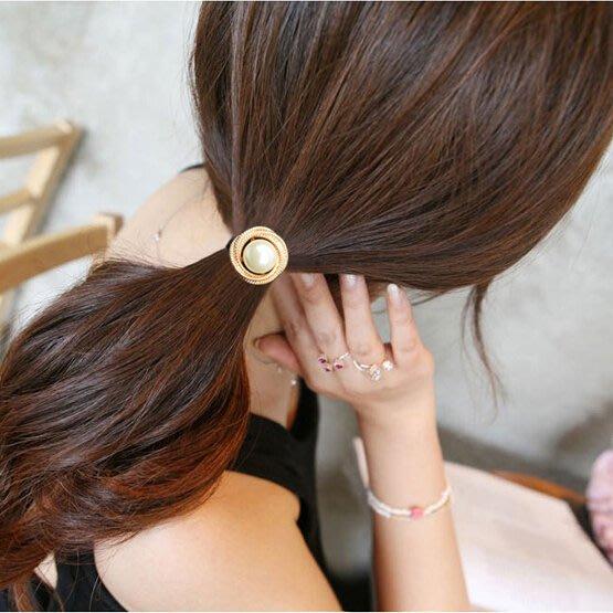 售完~小桃子 韓國版 進口 髮飾髮束  金/銀框珍珠彈力黑髮圈 亮眼出眾款  現貨當天出 2色可選