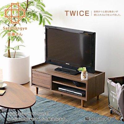 ~~Sato~TWICE琥珀蝕光單抽開放電視櫃‧幅90cm~外銷新品~免