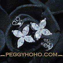 【Peggyhoho】全新18K白金1卡超白超閃鑽石耳環  馬眼小花  罕有欖尖鑽石 marquise