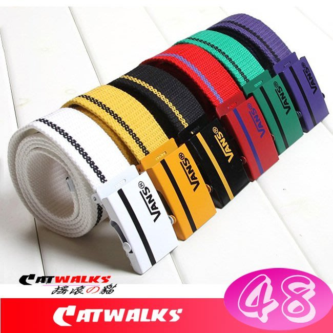 台灣現貨 Catwalk's- 潮流風電鍍扣頭文字條紋帆布腰帶 ( 黑色、白色、紅色、黃色、綠色、紫色、黑底黃、藍色 )