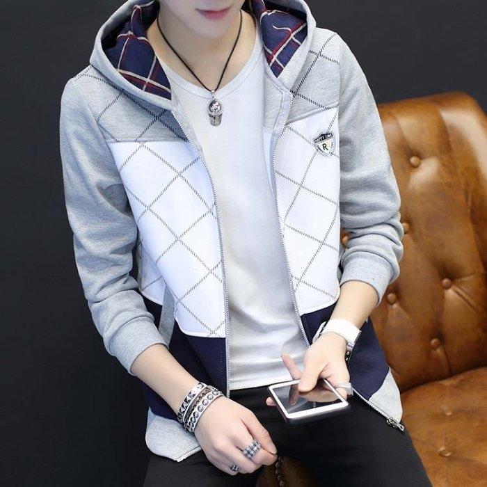 開衫衛衣男修身連帽拉練裝青少年休閒上衣秋季學生運動外套潮