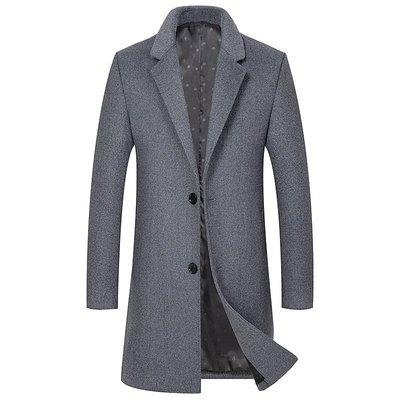 毛呢大衣 中長版風衣-純色優雅修身羊毛男外套4色73wk15[獨家進口][米蘭精品]