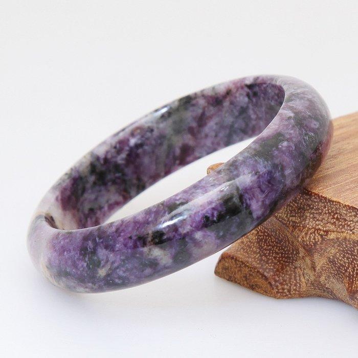 嚴選紫龍晶帶玉化手鐲45.2g, 18圍