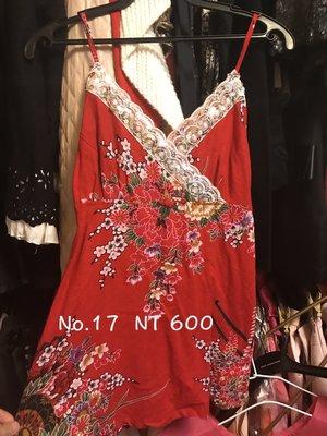 造型中國風 V領銀色亮片 紅色上衣 棉麻料