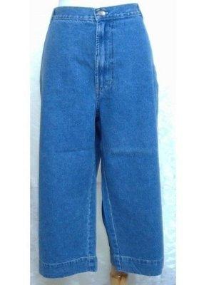 ~麗麗ㄉ大碼舖~大尺寸#20-22(40-42吋)深藍/藍色寬管八分牛仔褲~特加大碼~