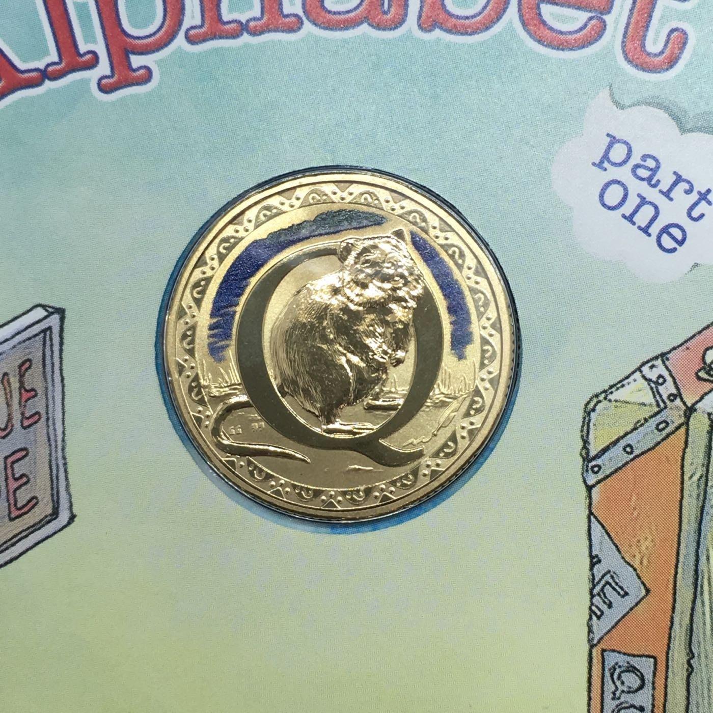 澳洲 2016年 短尾矮袋鼠 限量7500套郵幣 彩色硬幣 PNC / Q字母 Quokka / 紀念套幣 微笑袋鼠 動物 硬幣 錢幣 卡幣 澳大利亞