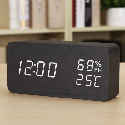 時尚LED創意電子鐘錶 夜光靜音鬧鐘 溫濕度計學生床頭鐘木 座台鐘