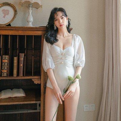 BEAUTY AMIUSwimming復古泳衣 韓國ins風小胸聚攏半袖顯瘦遮肚白色連身泳衣女