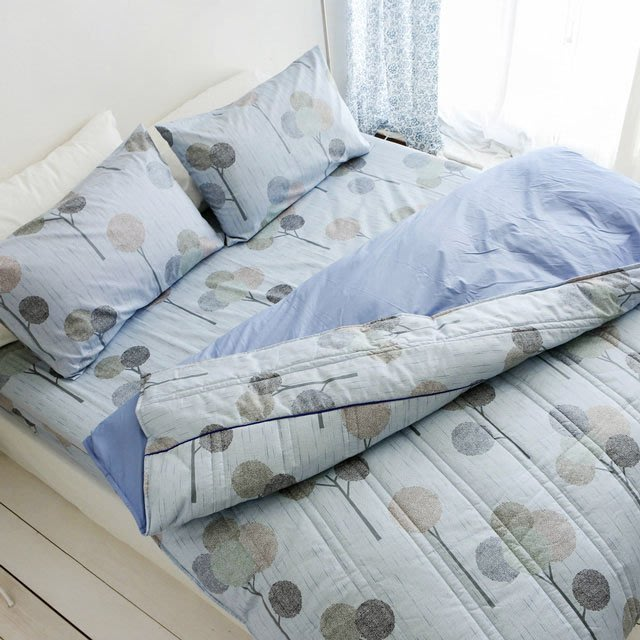 MIT精梳棉【 小森之樹-藍色】雙人/床包兩用被套組-絲薇諾